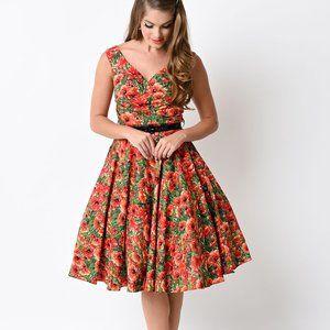 Bernie Dexter Poppy Print Pinup Midi Dress sz L
